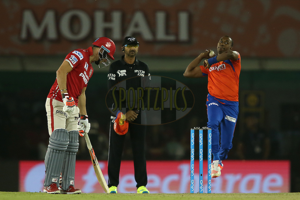 Dwayne Bravo of Gujarat Lions sends down a delivery during match 3 of the Vivo Indian Premier League (IPL) 2016 between the Kings XI Punjab and the Gujarat Lions held at the IS Bindra Stadium, Mohali, India on the 11th April 2016<br /> <br /> Photo by Shaun Roy/ IPL/ SPORTZPICS