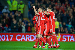CARDIFF, WALES - Tuesday, November 14, 2017: Wales' Tom Lawrence celebrates scoring the first goal with team-mates during the international friendly match between Wales and Panama at the Cardiff City Stadium. (Pic by David Rawcliffe/Propaganda)