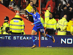 Leicesters Riyad Mahrez, Runs to Celebrates his goal at Nottingham Forest, Nottingham Forest v Leicester City, City Ground Nottingham,  Sky Bet Championship, 19th Febuary 2014