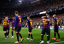 BARCELONA, May 2, 2019  FC Barcelona's Lionel Messi (3rd R) celebrates after scoring with his teammate Luis Suarez (2nd R) during the UEFA Champions League semifinal first leg soccer match between FC Barcelona and Liverpool in Barcelona, Spain, on May 1, 2019. Barcelona won 3-0. (Credit Image: © Joan Gosa/Xinhua via ZUMA Wire)