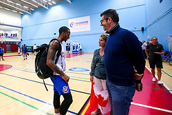 Gentrey Thomas of Bristol Flyers meets fans with a Canadian flag - Mandatory by-line: Robbie Stephenson/JMP - 17/09/2019 - BASKETBALL - SGS Arena - Bristol, England - Bristol Flyers Open Training Session