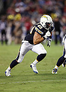 San Diego Chargers linebacker Ben Gardner (49) rushes the quarterback during the 2016 NFL preseason football game against the San Francisco 49ers on Thursday, Sept. 1, 2016 in San Diego. The 49ers won the game 31-21. (©Paul Anthony Spinelli)