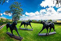 Ten bronze sculptures of cheetahs by Dylan Lewis are displayed in situ, Delaire Graff Wine Estate atop Helshoogte Pass, near Stellenbosch, Cape Winelands (near Cape Town), South Africa.