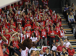 12.04.2015, Brose Arena, Bamberg, GER, Beko Basketball BL, Brose Baskets Bamberg vs EWE Baskets Oldenburg, Top Four 2015, Finale, im Bild Bamberg Fans // during the Beko Basketball Bundes league TOP FOUR 2015 final match between Brose Baskets Bamberg and EWE Baskets Oldenburg at the Brose Arena in Bamberg, Germany on 2015/04/12. EXPA Pictures © 2015, PhotoCredit: EXPA/ Eibner-Pressefoto/ Langer<br /> <br /> *****ATTENTION - OUT of GER*****
