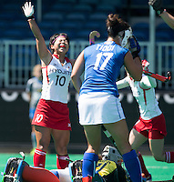 ANTWERP -    Akiko Kato (l) scored for Japan during  the match of Italy v Japan (2-2).  WSP COPYRIGHT KOEN SUYK