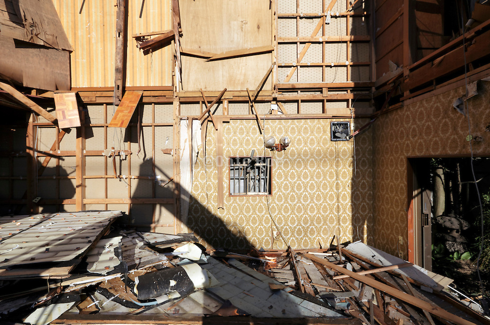 the interior of an old house that is being torn down