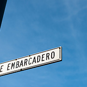A sign for the Embarcadero, the road that runs along San Francisco's waterfront.