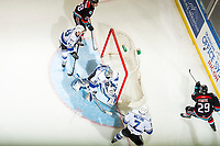 KELOWNA, CANADA - NOVEMBER 23:  Griffen Outhouse #30 of the Victoria Royals makes a save against the Kelowna Rockets on November 23, 2018 at Prospera Place in Kelowna, British Columbia, Canada.  (Photo by Marissa Baecker/Shoot the Breeze)