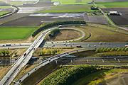 Nederland, Noord-Brabant, Gemeente Moerdijk, 23-10-2013; Infrabundel, combinatie van autosnelweg A16 gebundeld met de spoorlijn van de HSL ter hoogte van Knooppunt Zonzeel. <br /> Combination of motorway A16 and the HST railroad, Brabant (southern Netherlands)<br /> luchtfoto (toeslag op standard tarieven);<br /> aerial photo (additional fee required);<br /> copyright foto/photo Siebe Swart