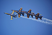 Photo of Blue Angels flying in formation taken by Leandra Lewis at Scott Air Force Base Air Show.