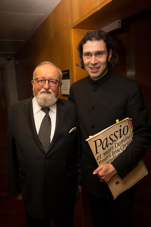 Polish composer Krzysztof Penderecki backstage with  Vladimir Jurowski