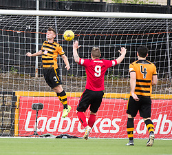 Brechin City's Liam Watt (not in pic) scoring their third goal. Athletic 4 v 3 Brechin City (Brechin won 5-4 on penalties), Ladbrokes Championship Play-Off 2nd Leg at Alloa Athletic's home ground, Recreation Park, Alloa.