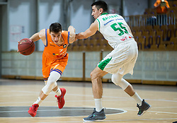Nejc Klavzar of Helios Suns vs Erjon Kastrati of Petrol Olimpija during basketball match between KK Petrol Olimpija and KK Helios Suns in Round #9 of Liga Nova KBM 2018/19, on December 14, 2018 in Arena Tivoli, Ljubljana, Slovenia. Photo by Vid Ponikvar / Sportida
