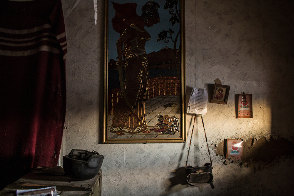 Items inside a front-line Ukrainian military position inside a house on Sunday, February 7, 2016 in Stanitsa Luhanska, Ukraine.