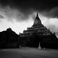 """The """"sunset pagoda"""" at Bagan The stupas of Bagan standing above the plains."""