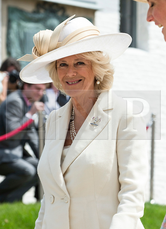 © London News Pictures. 17/06/2015. BELGIUM. <br /> Her Royal Highness the Duchess of Cornwall attended a special ceremony at the Belgian Farm.  <br /> . 200 years since the eve of the Battle of Waterloo, Their Royal Highnesses The Prince of Wales and the Duchess of Cornwall attended a special ceremony at Hougoumont Farm, the Belgian Farm Wellington claimed was instrumental in his victory.  Photo credit: Sergeant Rupert Frere/LNP
