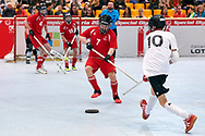 Graz, Austria - 2017 March 23: Floor Hockey Match between SO Austria (red) and SO Spain (white) while Special Olympics World Winter Games Austria 2017 at Convention Centre Messe Graz on March 23, 2017 in Graz, Austria.<br /> <br /> Mandatory credit:<br /> Photo by © Adam Nurkiewicz / Mediasport<br /> <br /> Adam Nurkiewicz declares that he has no rights to the image of people at the photographs of his authorship.<br /> <br /> Picture also available in RAW (NEF) or TIFF format on special request.<br /> <br /> Any editorial, commercial or promotional use requires written permission from the author of image.<br /> <br /> Image can be used in the press when the method of use and the signature does not hurt people on the picture.
