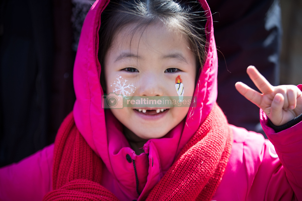 February 17, 2018 - Pyeongchang, South Korea - A young Korean fan during Alpine Skiing: Ladies' Super-G at Jeongseon Alpine Centre during the 2018 Pyeongchang Winter Olympic Games. (Credit Image: © Daniel A. Anderson via ZUMA Wire)