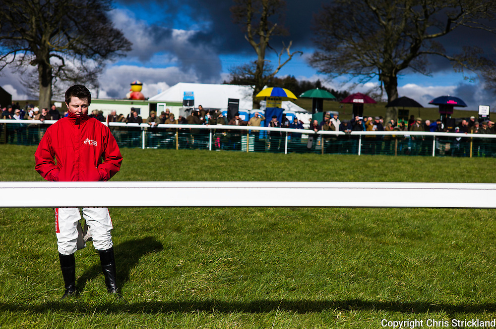 Corbridge, Northumberland, England, UK. 28th February 2016. Jockey Tom Hamilton watches colleagues racing at the Tynedale Hunt annual Point to Point horse racing fixture.