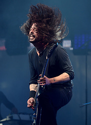 Dave Grohl of Foo Fighters performs on The Pyramid Stage at the Glastonbury Festival, at Worthy Farm in Somerset.