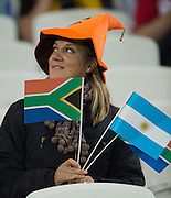 """London, Great Britain,  """"Halloween"""" and  """"Sitting on the Fence"""" many neutral supporters in the crowd.  South Africa vs Argentina. 2015 Rugby World Cup, Bronze Medal Match.Queen Elizabeth Olympic Park. Stadium, Stratford. East London. England,, Friday  30/10/2015. <br /> [Mandatory Credit; Peter Spurrier/Intersport-images]"""