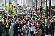 Part of the crowd assembling for the St Patrick's Day Parade in Westminster, London.<br /> Picture by Paul Davey/Focus Images Ltd +447966 016296<br /> 13/03/2016