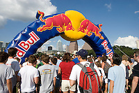 The purpose of the Red Bull Flugtag Event at Lady Bird Lake, Austin, Texas is to test the possibilities of human powerer flight - sort of.