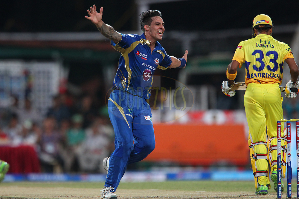 Mitchell Johnson celebrates the wicket of Subramium Badrinath during the Final of the Pepsi Indian Premier League between The Chennai Superkings and the Mumbai Indians  held at the Eden Gardens Stadium in Kolkata on the 26th May 2013..Photo by Ron Gaunt-IPL-SPORTZPICS      ..Use of this image is subject to the terms and conditions as outlined by the BCCI. These terms can be found by following this link:..http://www.sportzpics.co.za/image/I0000SoRagM2cIEc