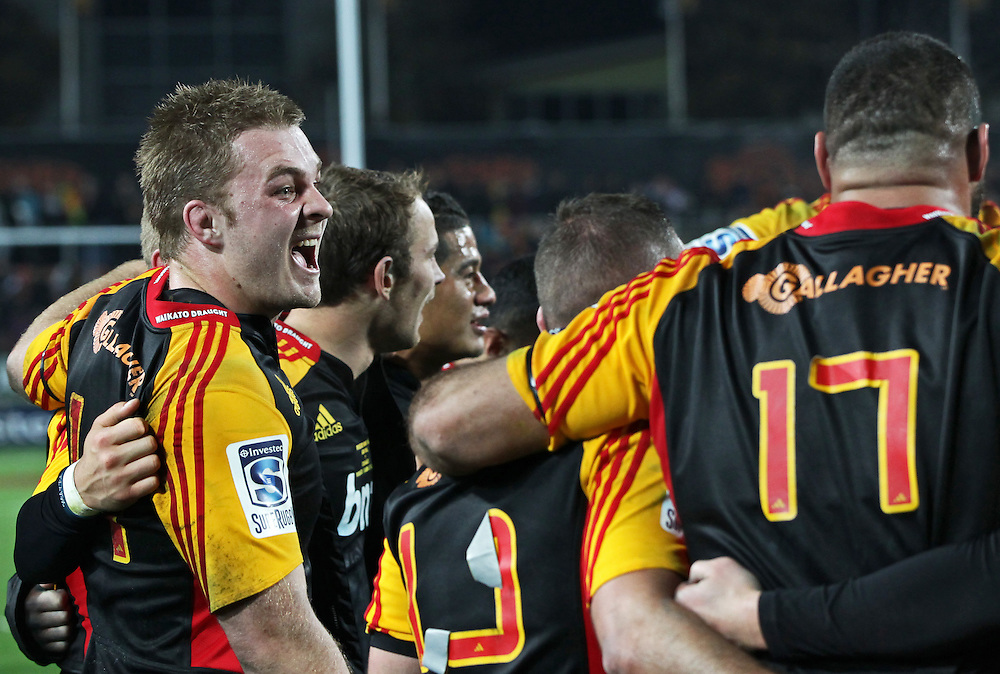 Chiefs' Sam Cane celebrates defeating the Crusaders in a Super Rugby semi final match, Waikato Stadium, Hamilton, New Zealand, Saturday, July 27, 2013.  Credit:SNPA / David Rowland