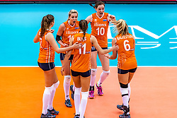 15-10-2018 JPN: World Championship Volleyball Women day 16, Nagoya<br /> Netherlands - USA 3-2 / Juliet Lohuis #7 of Netherlands, Laura Dijkema #14 of Netherlands, Anne Buijs #11 of Netherlands, Lonneke Sloetjes #10 of Netherlands, Maret Balkestein-Grothues #6 of Netherlands