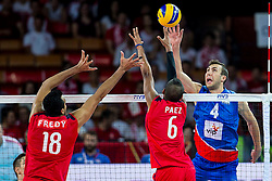 06.09.2014, Jahrhunderthalle, Breslau, POL, Venezuela vs Serbien, Gruppe A, im Bild Serbia, Nemanja Petric (SRB), Fredy Ramon Cedeno Marquez (VEN), Carlos Paez (VEN) // during the FIVB Volleyball Men's World Championships Pool A Match beween Uenezuela and Serbia at the Jahrhunderthalle in Breslau, Poland on 2014/09/06.<br />