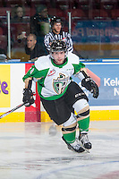 KELOWNA, CANADA - DECEMBER 6: Craig Leverton #8 of Prince Albert Raiders skates during warm up against the Kelowna Rockets on December 6, 2014 at Prospera Place in Kelowna, British Columbia, Canada.  (Photo by Marissa Baecker/Shoot the Breeze)  *** Local Caption *** Craig Leverton;