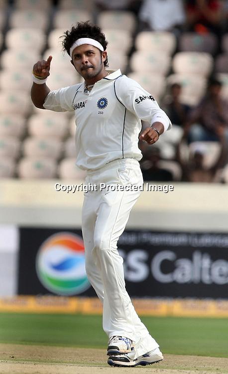 Indian Bowler Sreesanth Celebrates After Take New Zealand Batsman Brendon McCullum Wicket During The 2nd Test Match India vs New Zealand Played at Rajiv Gandhi International Stadium, Uppal, Hyderabad 12, November 2010 <br /> (5-day match)