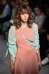 © Licensed to London News Pictures. 13/09/2019. LONDON, UK.  A model presents a look by Irma Skjoth Hedlund of Swedish School of Textiles during Fashion Scout SS20, an off schedule show at Victoria House in Bloomsbury Square, on the opening day of London Fashion Week.  Photo credit: Stephen Chung/LNP