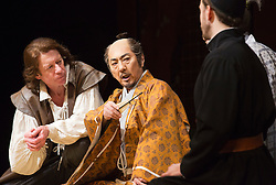 © Licensed to London News Pictures. 31/01/2013. London, England. L-R: Stephen Boxer as William Adams/Anjin and Masachika Ichimura as Shogun. ANJIN, The Shogun and the English Samurai opens at Sadler's Wells Theatre with a run to 9 February 2013. With Masachika Ichimura as the Shogun Ieyasu Tokugawa and Stephen Boxer as William Adams/Anjin. William Adams, known in Japanese as Anjin, was an English maritime pilot who is believed to be the first Englishman to ever reach Japan. His story is brought to the stage in a new play directed Director Gregory Doran, written by Mike Poulton with Shoichiro Kawai. Photo credit: Bettina Strenske/LNP