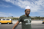 Ali Hamadsi on the Malecon, in Habana Vieja. Ali is a Muslim from a few years, is a musician and a former rapper, and share his flat with other two Muslim persons.