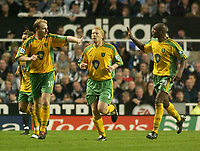 Photo. Glyn Thomas. <br /> Newcastle United v Norwich City. Barclays Premiership.<br /> 25/08/2004.<br /> Norwich's Gary Doherty (L) celebrates scoring his side's equaliser with Damien Francis (R)