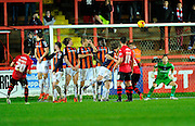 Exeter City's Tom Nichols free kick which beat the wall and Luton Town's goalkeeper Mark Tyler during the Sky Bet League 2 match between Exeter City and Luton Town at St James' Park, Exeter, England on 19 December 2015. Photo by Graham Hunt.
