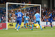 Ball bounces free in the Coventry City box during the EFL Sky Bet League 1 match between AFC Wimbledon and Coventry City at the Cherry Red Records Stadium, Kingston, England on 11 August 2018.