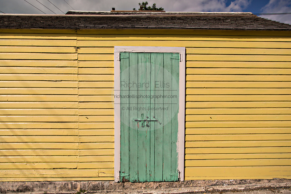 Colorful wall in Dunmore Town, Harbour Island, The Bahamas