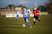 Deanna Cooper during the FA Women's Sussex Challenge Cup semi-final match between Brighton Ladies and Hassocks Ladies FC at Culver Road, Lancing, United Kingdom on 15 February 2015. Photo by Geoff Penn.
