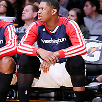 21 March 2014: Washington Wizards center Kevin Seraphin (13) is seen on the bench during the Washington Wizards 117-107 victory over the Los Angeles Lakers at the Staples Center, Los Angeles, California, USA.