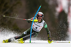 01.03.2020, Hannes Trinkl Weltcupstrecke, Hinterstoder, AUT, FIS Weltcup Ski Alpin, Alpine Kombination, Herren, Slalom, im Bild Bryce Bennett (USA) // Bryce Bennett of the USA in action during his Slalom run of men's Alpine combined of FIS ski alpine world cup at the Hannes Trinkl Weltcupstrecke in Hinterstoder, Austria on 2020/03/01. EXPA Pictures © 2020, PhotoCredit: EXPA/ Johann Groder