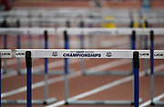 Mar 4, 2017; Albuquerque, NM, USA: General overall view of the hurdles during the USA Indoor Championships at Albuquerque Convention Center.