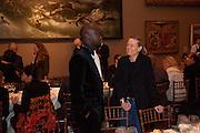 DAVID ADJAYE; TERESA GLEADOWE, Chris Ofili dinner to celebrate the opening of his exhibition. Tate. London. 25 January 2010