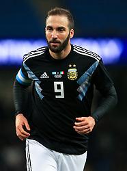 Gonzalo Higuain of Argentina - Mandatory by-line: Matt McNulty/JMP - 23/03/2018 - FOOTBALL - Etihad Stadium - Manchester, England - Argentina v Italy - International Friendly