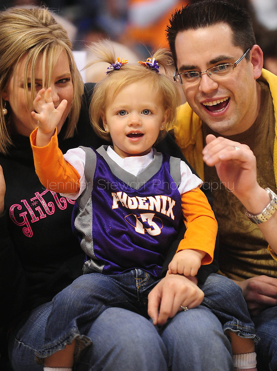 Feb. 4, 2011; Phoenix, AZ, USA; Phoenix Suns fans react from the floor against the Oklahoma City Thunder at the US Airways Center. The Thunder defeated the Suns 111-107. Mandatory Credit: Jennifer Stewart-US PRESSWIRE.