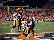 Pittsburgh Steelers cornerback Ike Taylor (24) leaps and breaks up a Hail Mary pass intended for Cincinnati Bengals wide receiver Mohamed Sanu (12) in the end zone at the end of the first half during the NFL week 2 football game against the Cincinnati Bengals on Monday, Sept. 16, 2013 in Cincinnati. The Bengals won the game 20-10. ©Paul Anthony Spinelli