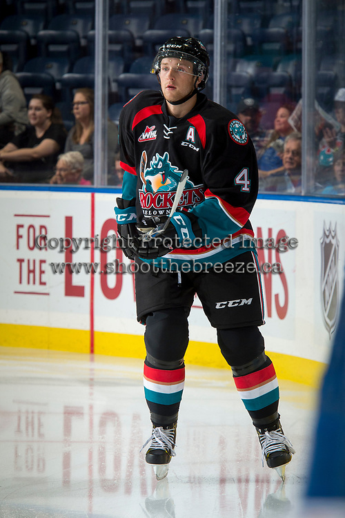 KELOWNA, CANADA - SEPTEMBER 22: Gordie Ballhorn #4 of the Kelowna Rockets warms up against the Kamloops Blazers on September 22, 2017 at Prospera Place in Kelowna, British Columbia, Canada.  (Photo by Marissa Baecker/Shoot the Breeze)  *** Local Caption ***