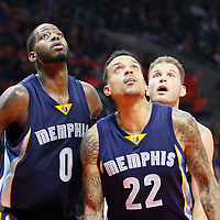 09 November 2015: Memphis Grizzlies forward Matt Barnes (22) and Memphis Grizzlies forward JaMychal Green (0) vie for the rebound with Los Angeles Clippers forward Blake Griffin (32) during the Los Angeles Clippers 94-92 victory over the Memphis Grizzlies, at the Staples Center, in Los Angeles, California, USA.